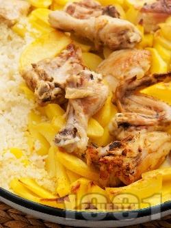 Печено пиле с ориз и картофи в тава на фурна - снимка на рецептата